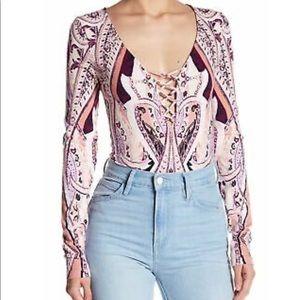 Free People Paisley Lace Up Bodysuit NEVER WORN XS